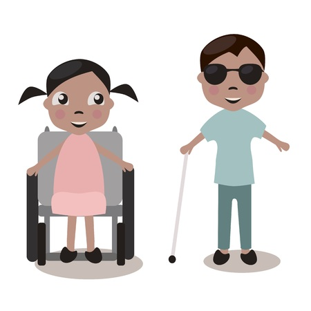 blind girl: Children with impairments, isolated vectors