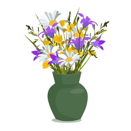 Fleurs sauvages dans un vase, isolé