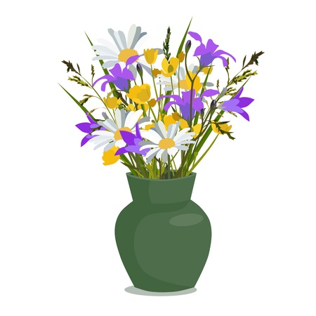 buttercup  decorative: Flowers wild in vase, isolated