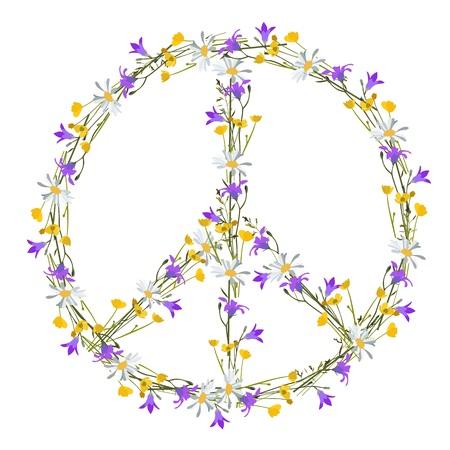 flower power: Flower power peace symbol, isolated Illustration