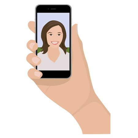 woman on phone: Mobile phone selfie woman, isolated