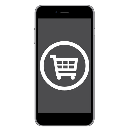 mobile phone icon: Mobile phone shopping icon isolated