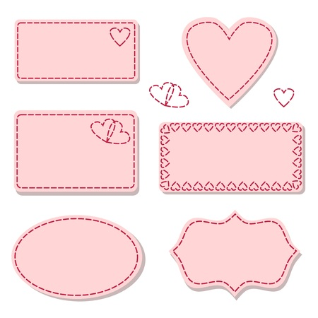 stitches: Labels pink with sewing stitches isolated