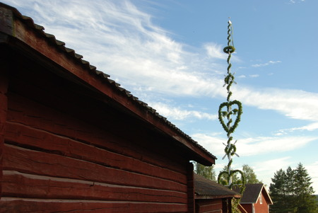 midsummer pole: Midsummer pole in Swedish village - Midsummer pole in Swedish village with traditionally houses painted in red.