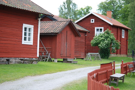 typical: Typical Swedish houses in red Editorial