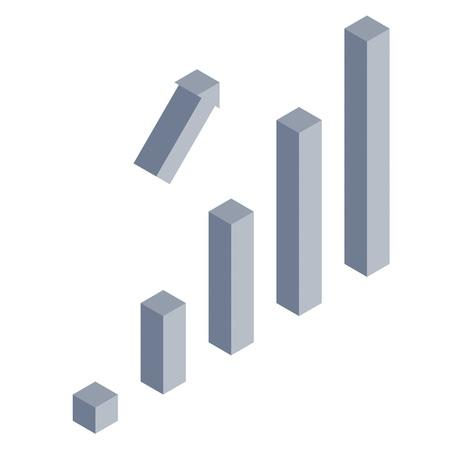 success concept: Isometric success bar chart concept
