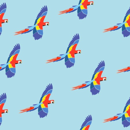ara: Seamless pattern parrot ara on blue Illustration