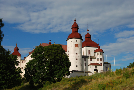17th century: Lacko castle in Sweden view from land, historic castle built in the 17th century