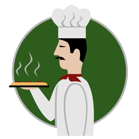 pizza chef: Pizza chef icon, isolated vector