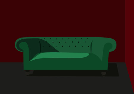 green couch: Interior green couch, vector Illustration