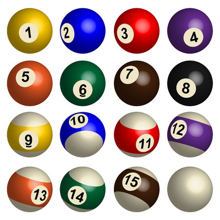 pool balls: Set of pool balls in 3D, isolated vector