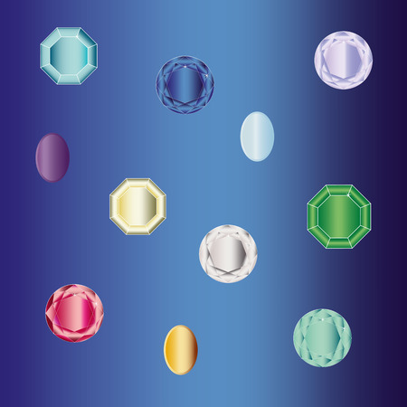 Set of gems jewelry, vector