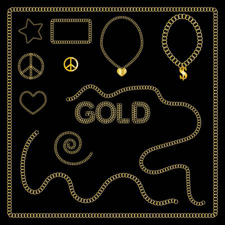 gold jewelry: Set of golden chains � gold jewelry, vector Illustration
