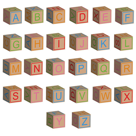 toy blocks: Toy blocks alphabet letters in 3D, isolated vector Illustration