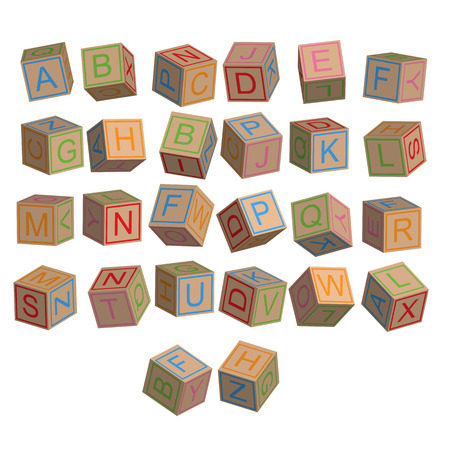 disordered: Toy blocks alphabet in 3D disordered, vector