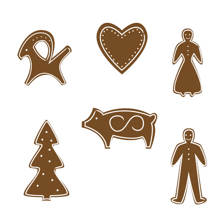 Gingerbread cookies for Christmas, vector