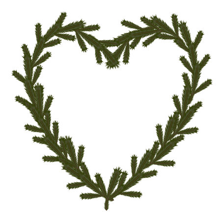 coniferous: Christmas coniferous heart symbol, isolated vector Illustration