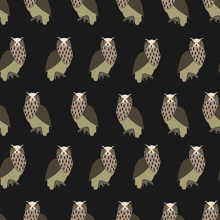 Seamless pattern Eurasian eagle owl