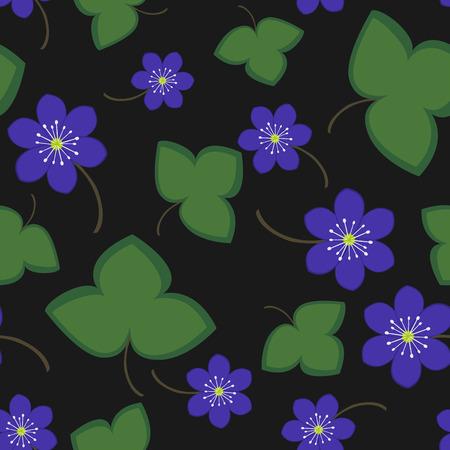 springtime: Seamless pattern blue anemone Illustration