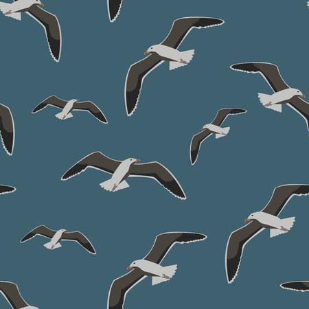 Seamless pattern sea gull, vector