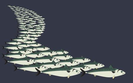 shoal: Background mackerel shoal, vector