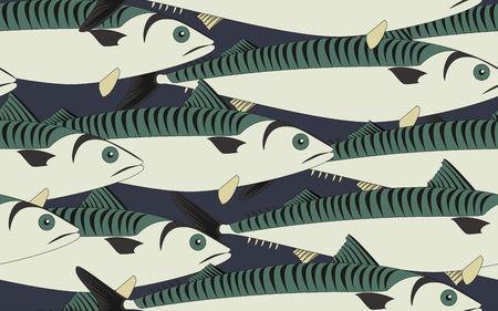 mackerel: Seamless pattern mackerel close up, vector