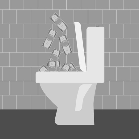 throw away: Flush money down the toilet, vector