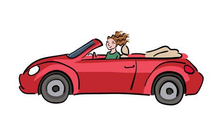Happy woman driving red cabriolet car, vector