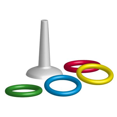 Spel gooien ringen speelgoed in 3D, vector