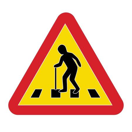 impairment: Traffic sign warning pedestrian elderly, vector