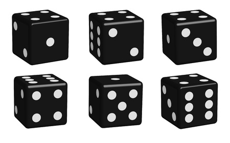 chances are: Dice black set in 3D view, vector