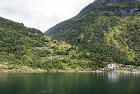 switchback: Switchback road at Geiranger in Norway Stock Photo