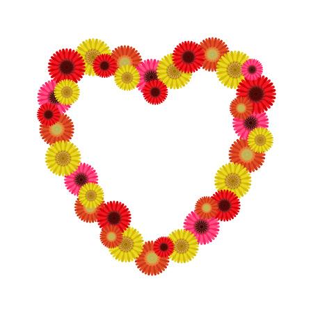 Frame heart of gerberas, vector Ilustracja