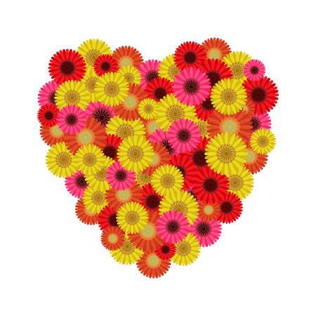 Heart symbol of gerberas, vector