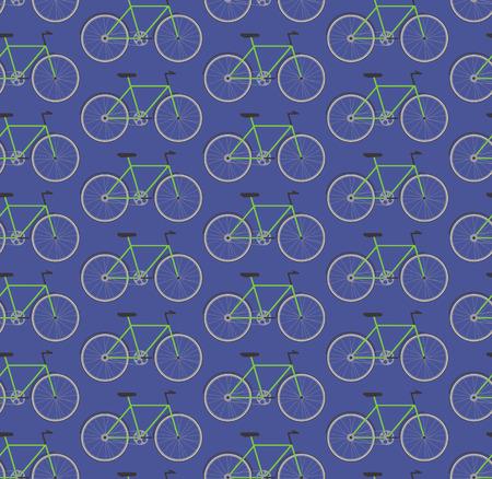 Seamless pattern green bikes, vector