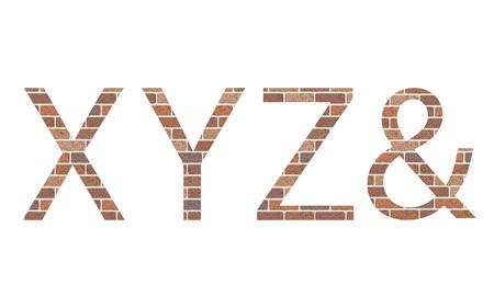 xyz: Letters XYZ in bricks, vector