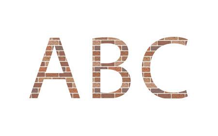 Letters ABC in bricks, vector Illustration