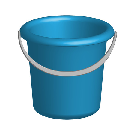Object plastic bucket in 3D, vector Иллюстрация