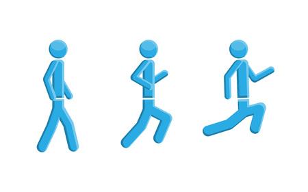 People running walking symbol, vector