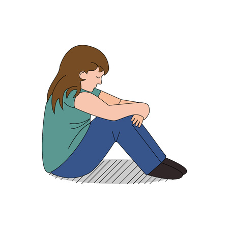 Cartoon child depressed and bullied, vector Illustration