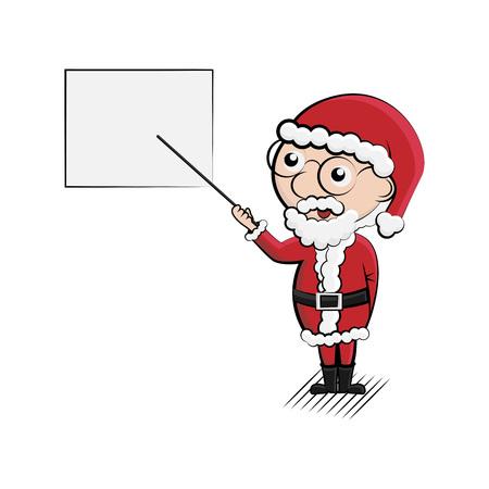 Cartoon santa with gift presentation, vector Illustration