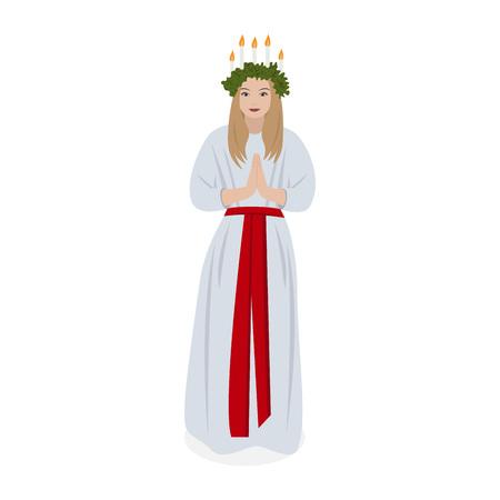 Scandinavian tradition Saint Lucys, vector Illustration