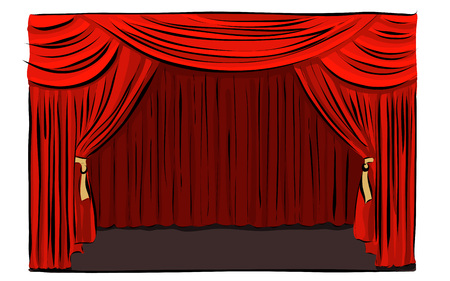 Hand drawn theatrical stage vector illustration. 일러스트