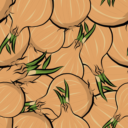 Seamless pattern hand drawn onion, vector