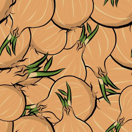 Seamless pattern hand drawn onion, vector