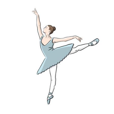 Hand getekend ballerina pictogram, vector