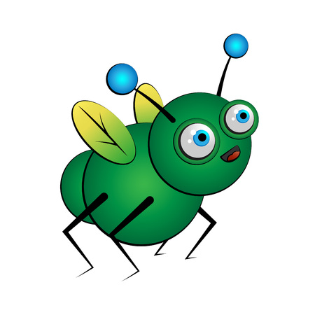 Fantasy green bug insect, vector Çizim