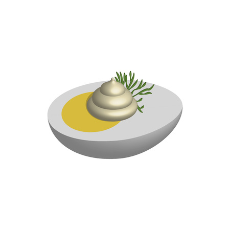 Half egg with mayo in 3D, vector Фото со стока - 97999392