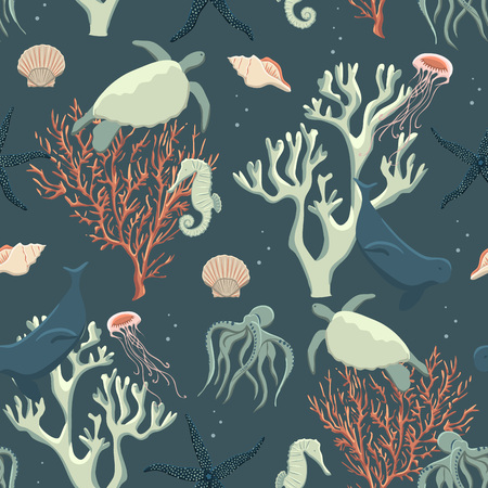 Seamless pattern abstract sea life, vector