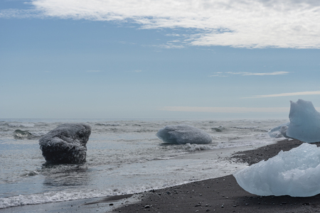 Glacial ice on shore Stock Photo